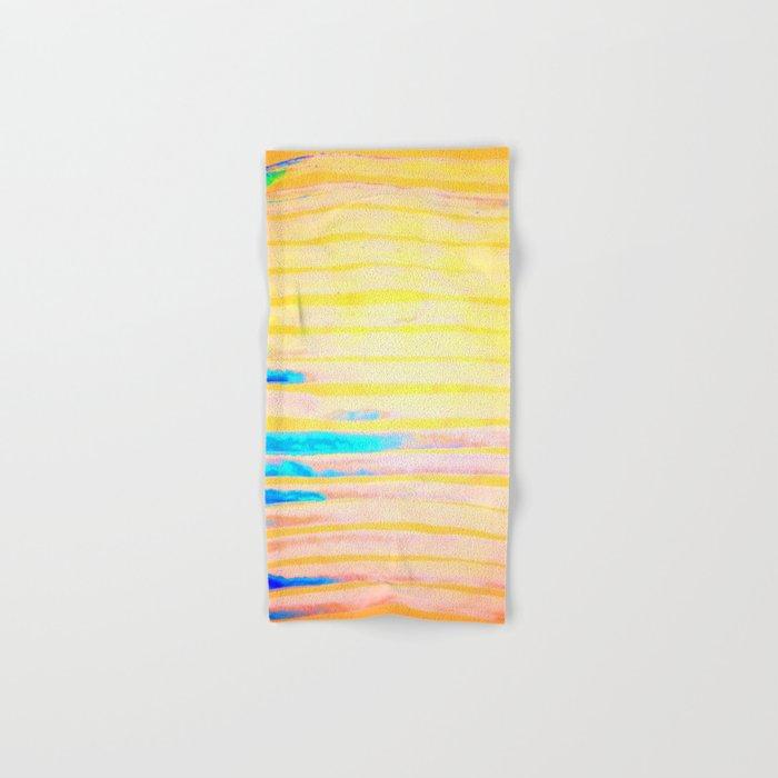 Orange Pantone Ocean Blue Lines Hand & Bath Towel