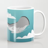 the whale Mugs featuring Whale by mark ashkenazi
