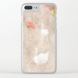 Geese, clouds, roses, vintage calligraphy Clear iPhone Case