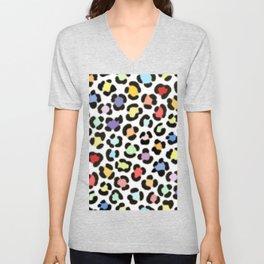 Trendy Multicolor Leopard Fur Effect Pattern Unisex V-Neck