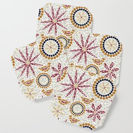 Birds and Flowers Mosaic - Grey, Rust and Red Coaster