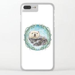 Sea Otter in Kelp Wreath Clear iPhone Case