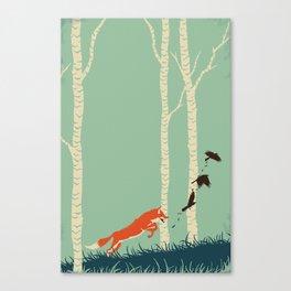 Fox Chasing Birds Canvas Print