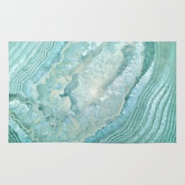 """Aquamarine Pastel and Teal Agate Crystal"" Rug"