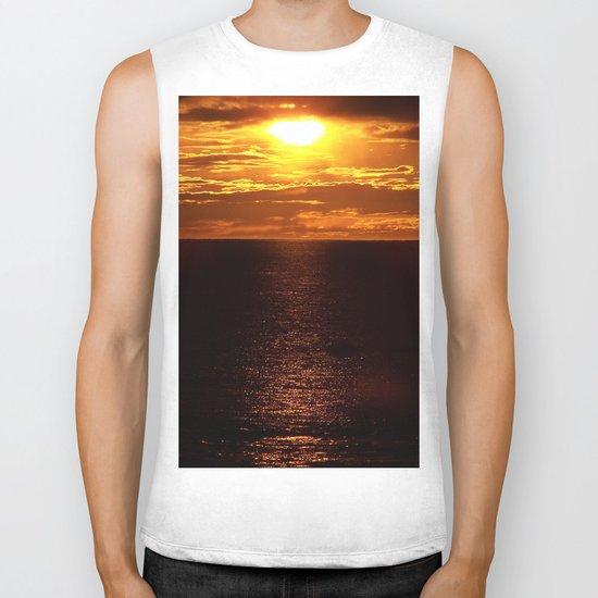 Golden Sunset on the Sea Biker Tank