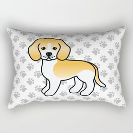 Cute Lemon And White Beagle Dog Cartoon Illustration Rectangular Pillow