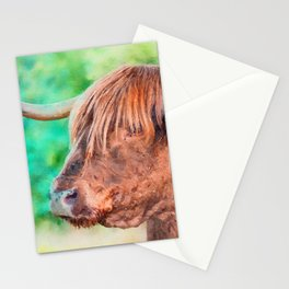 Highland cow watercolor painting #11 Stationery Cards