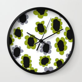 Daisies - Avocado and Slate Wall Clock