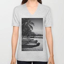 Sugar Beach Hawaiian Outrigger Canoes Kihei Maui Hawaii Unisex V-Neck