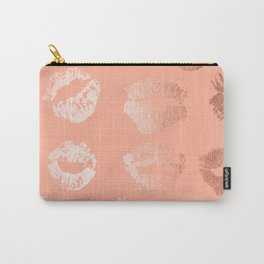 Sweet Life Lips Peach Coral Pink Shimmer Carry-All Pouch