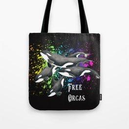 Free Orca Whales Splatter Watercolor Art Tote Bag