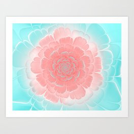 Romantic aqua and pink flower, digital abstracts Art Print