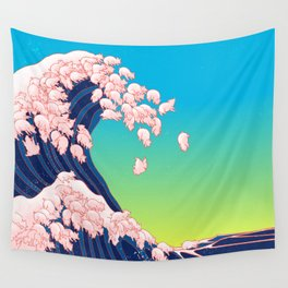 Piglets Waves Wall Tapestry