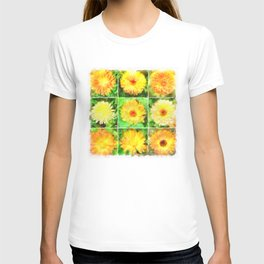 Watercolour Collage of Yellow And Orange Marigolds T-shirt