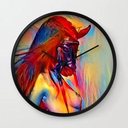Pony girl - fetish erotic woman topless, colorful BDSM slave artwork, masked female animal like kink Wall Clock