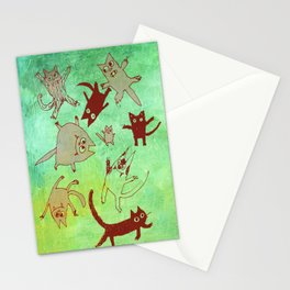 levitating kitties Stationery Cards