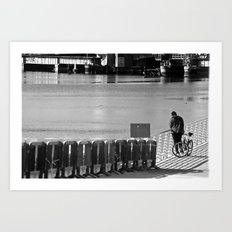 Man With Bike Art Print