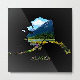 Alaska Outline - God's Country Metal Print