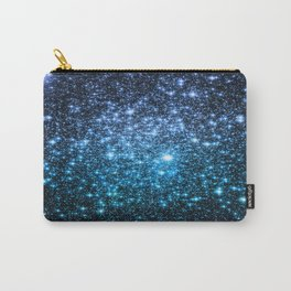 Galaxy Sparkle Stars Periwinkle Blue Turquoise Ombre Carry-All Pouch