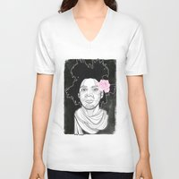 basquiat V-neck T-shirts featuring Basquiat by DonCarlos