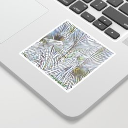 Abstract Palm, Palm Tree Design, White colorful palm, Sticker