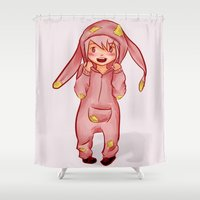onesie Shower Curtains featuring Onesie by Hetty's Art