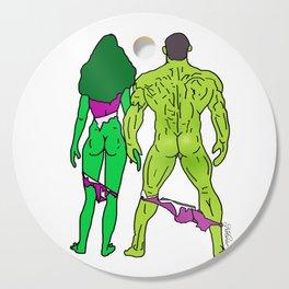 Superhero Butts Love 5 - Green Cutting Board