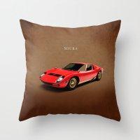 lamborghini Throw Pillows featuring Lamborghini Miura by Mark Rogan