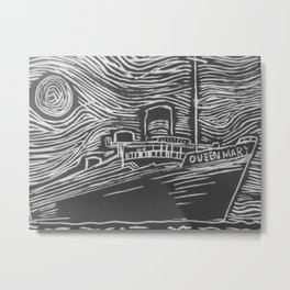 Black And Wight RMS Queen Mary Metal Print