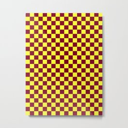 Electric Yellow and Burgundy Red Checkerboard Metal Print