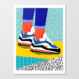 Super Fire - retro sneakers, throwback, memphis, fashion, shoes, sneakers, Canvas Print