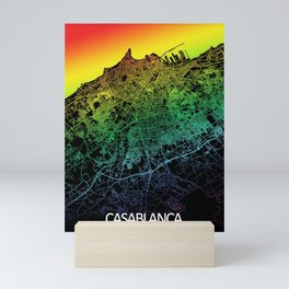 Casablanca, Morocco, City, Map, Rainbow, Map, Art, Print Mini Art Print