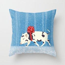 Cute Little Pig Holiday Design Throw Pillow