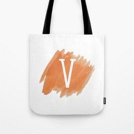 Letter V Orange Watercolor Tote Bag