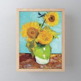 Vincent van Gogh - Three Sunflowers Framed Mini Art Print