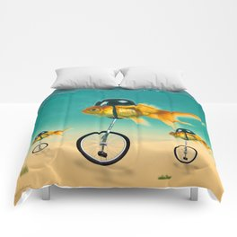 cool gold fish Comforters