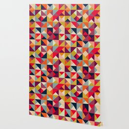 Bright Geometric Happy Pattern Wallpaper