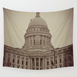 Madison Wisconsin Capital Building Architecture Sepia Photography Wall Tapestry
