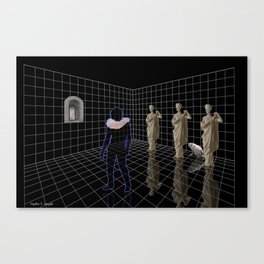 Man in a room with statues and cats Canvas Print