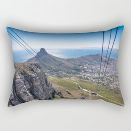 Cable car going up Table Mountain in Cape Town, South Africa Rectangular Pillow