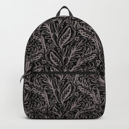 Modern Floral Leaf Nature Pattern, Monochrome Tonal Grey on Black with Linear detail Backpack