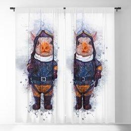 Steampunk Aviator Pig Blackout Curtain