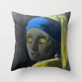 Zombie with the Pearl Earring Throw Pillow
