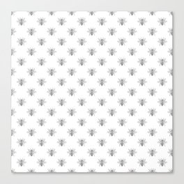 Vintage Honey Bees in Grey on White Canvas Print