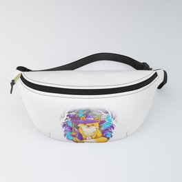 Cute Halloween Fox Witch with Moon and Tree Silhouettes Fanny Pack
