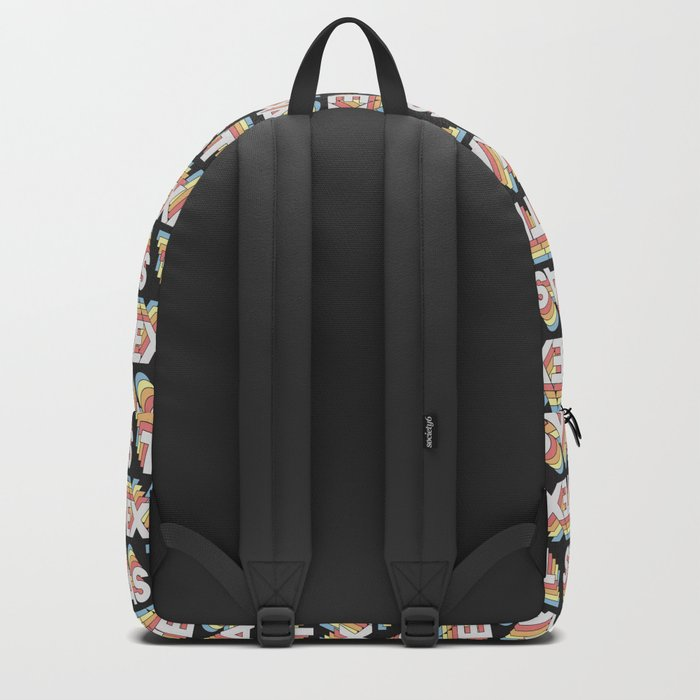 Texas, USA Trendy Rainbow Text Pattern (Black) Backpack