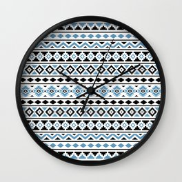 Aztec Essence Pattern II Light Blue Black White Wall Clock