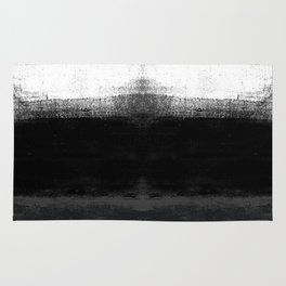 Ocean No. 2 - Minimal ocean abstract painting in black and white Rug