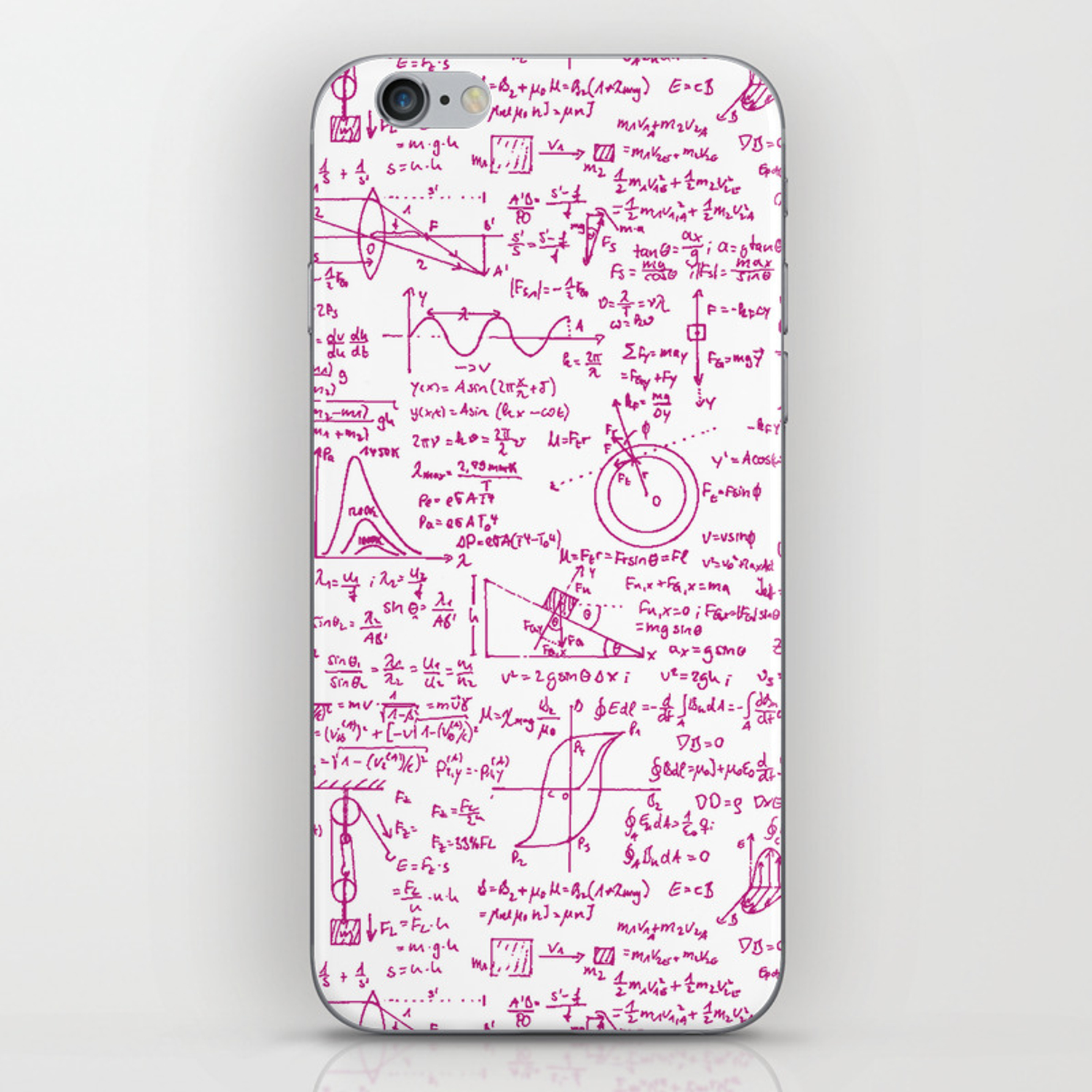 Physics Equations // Pink iPhone Skin by thinlinetextiles