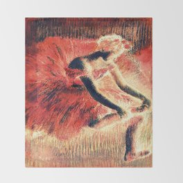the dancer coral red Throw Blanket
